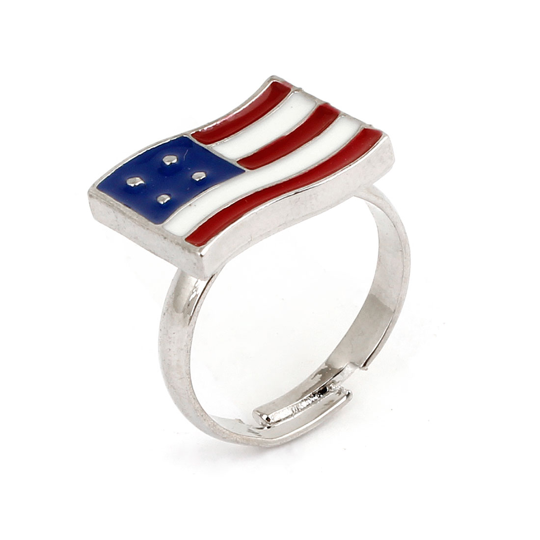 Ladies Decoration Colored USA Flag Style Decor Finger Ring