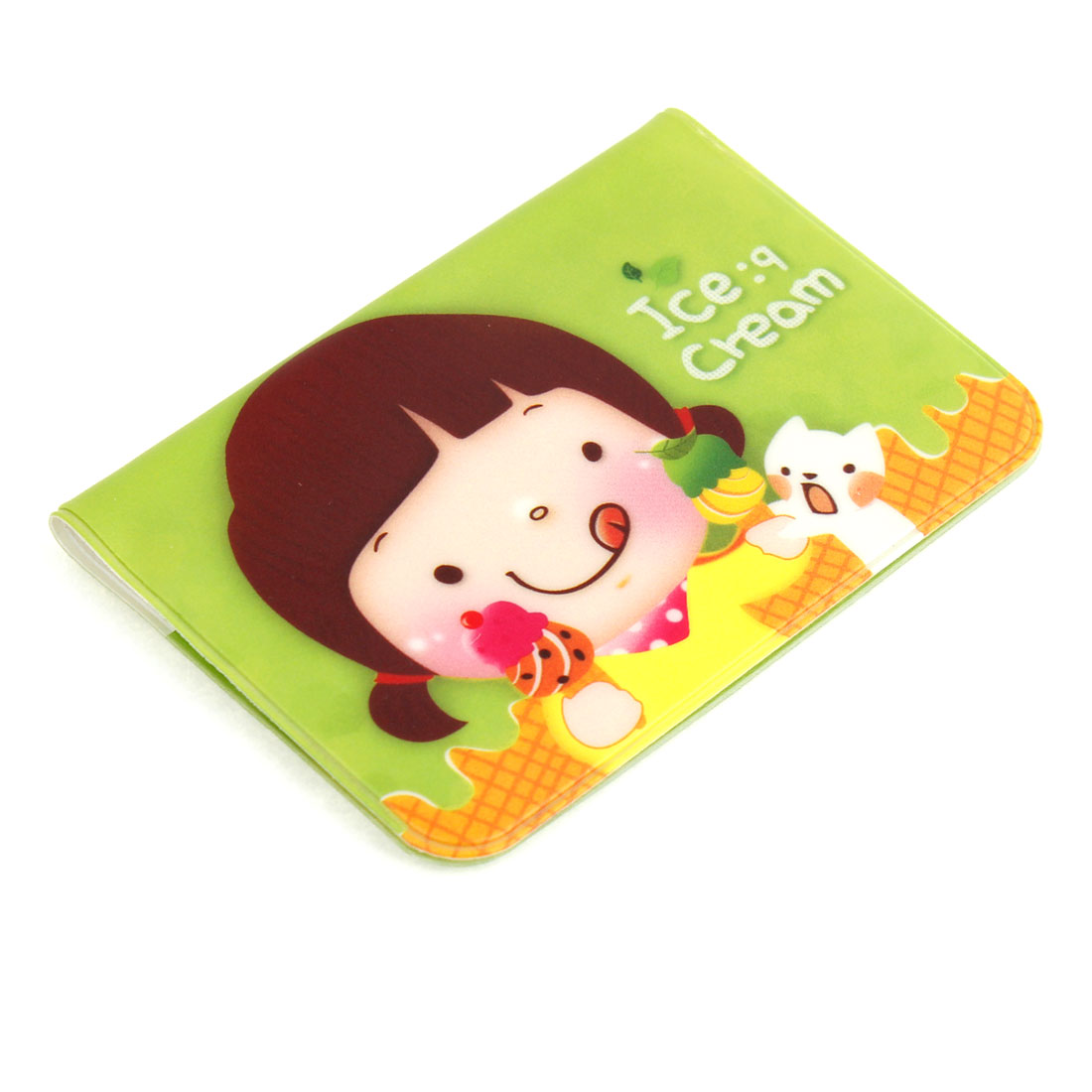 Girl Pattern Green Cover 24 Pockets Business Bank ID Card Holder Case