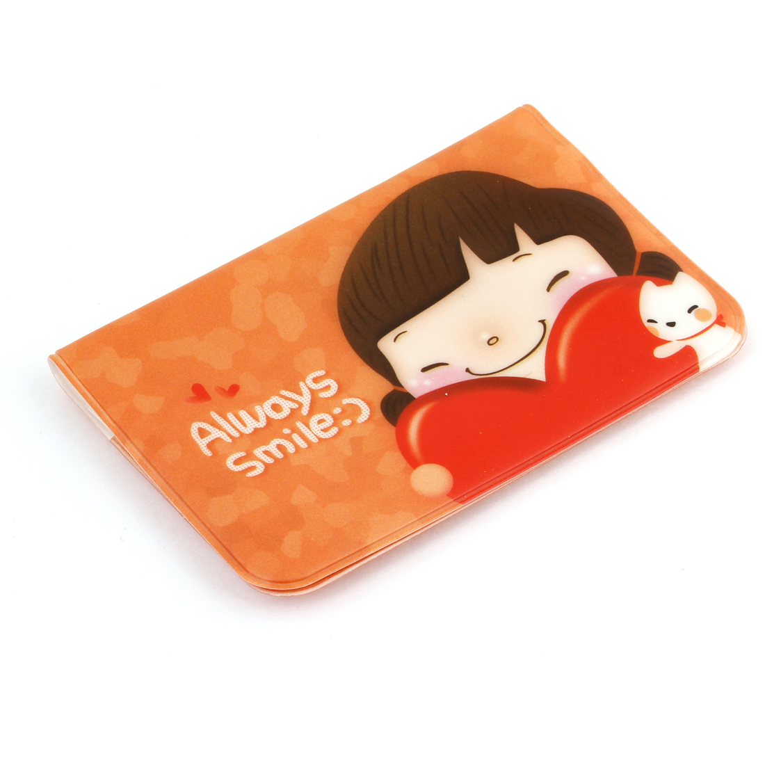 Plastic Orange Cover Cute Girl Pattern 24 Capacity VIP Name Card Case Holder