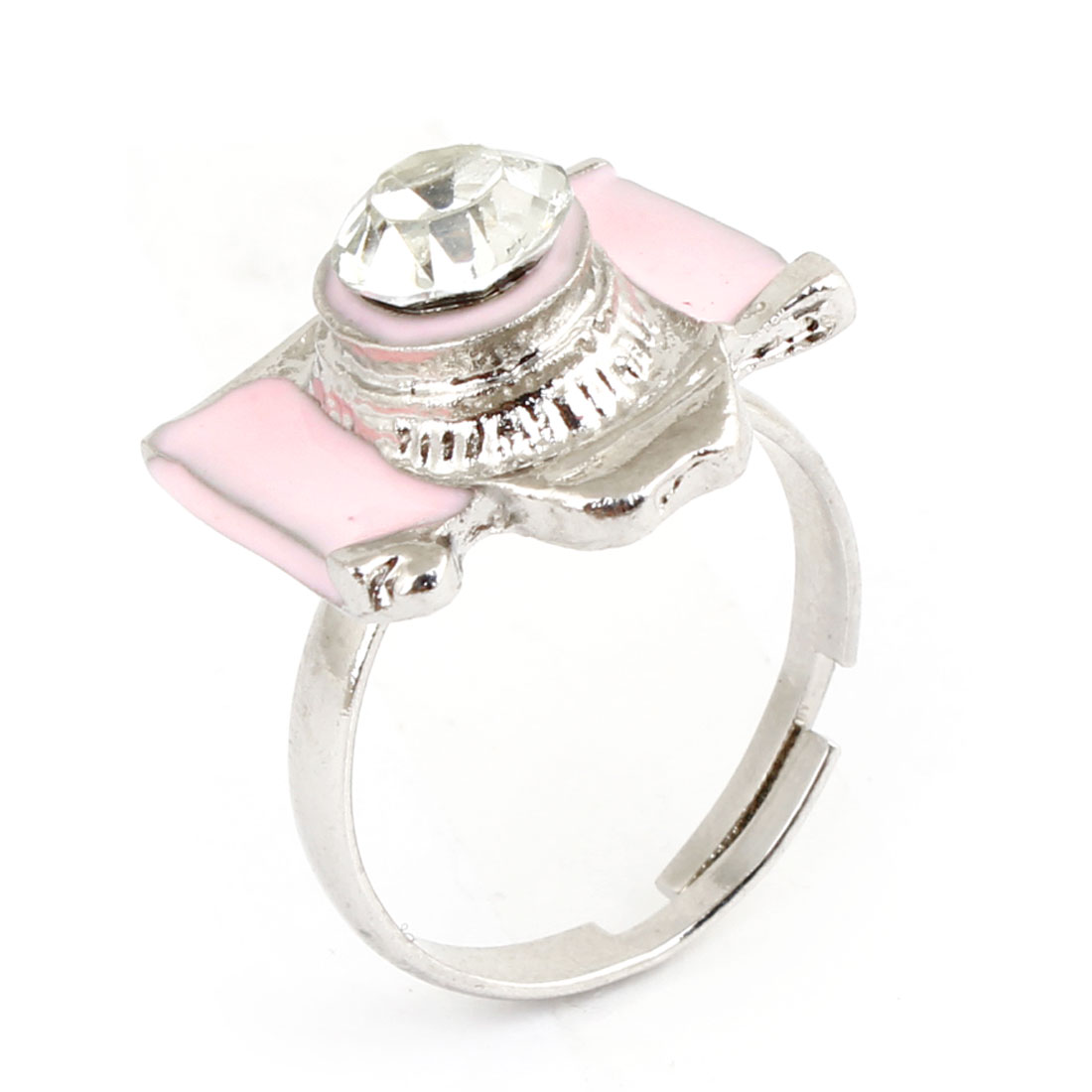 Ladies Decoration Pink Camera Shape Accent Finger Ring US 7 1/4