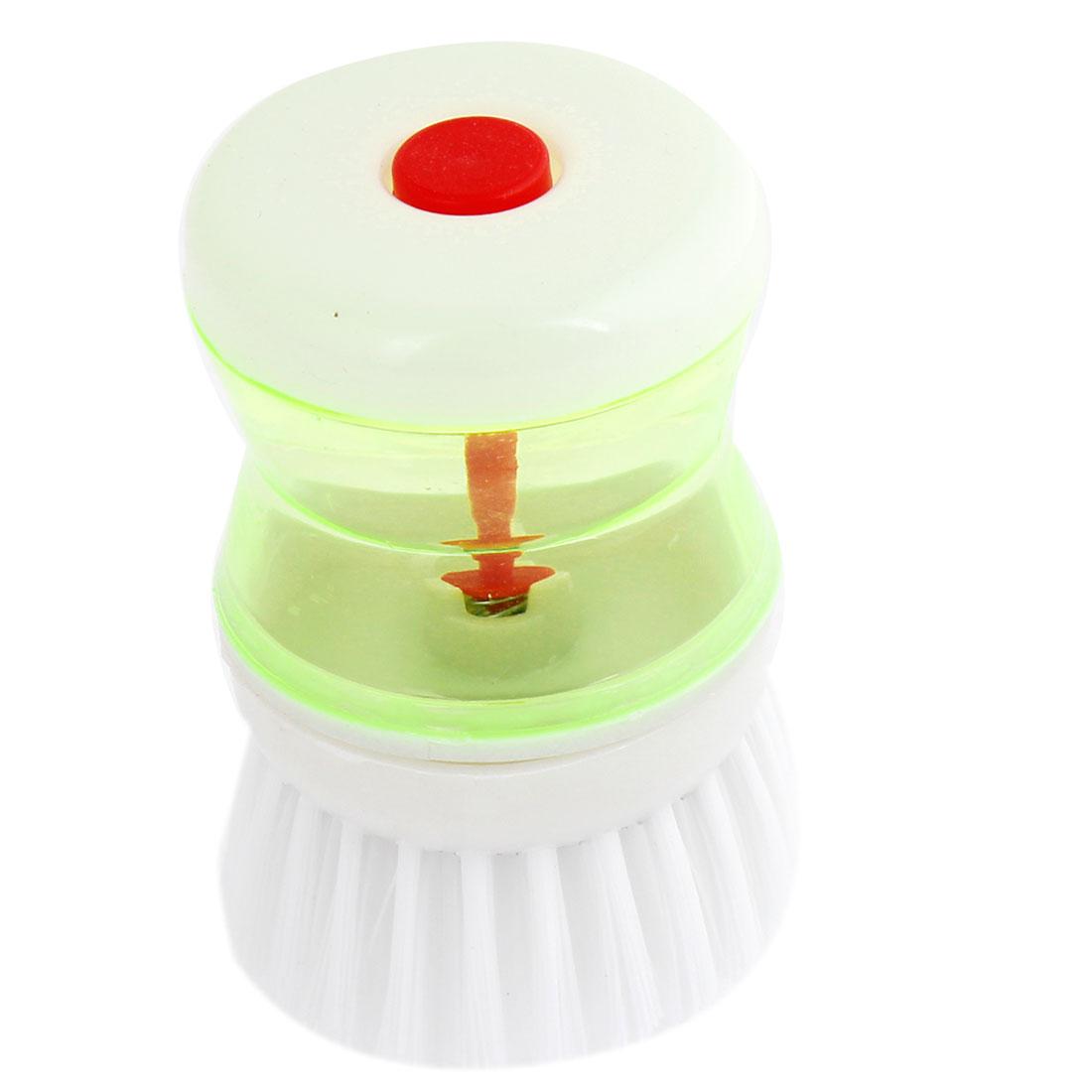 Plastic Washing Up Liquid Tank Bowls Dishwasher Kitchen Brush White Green