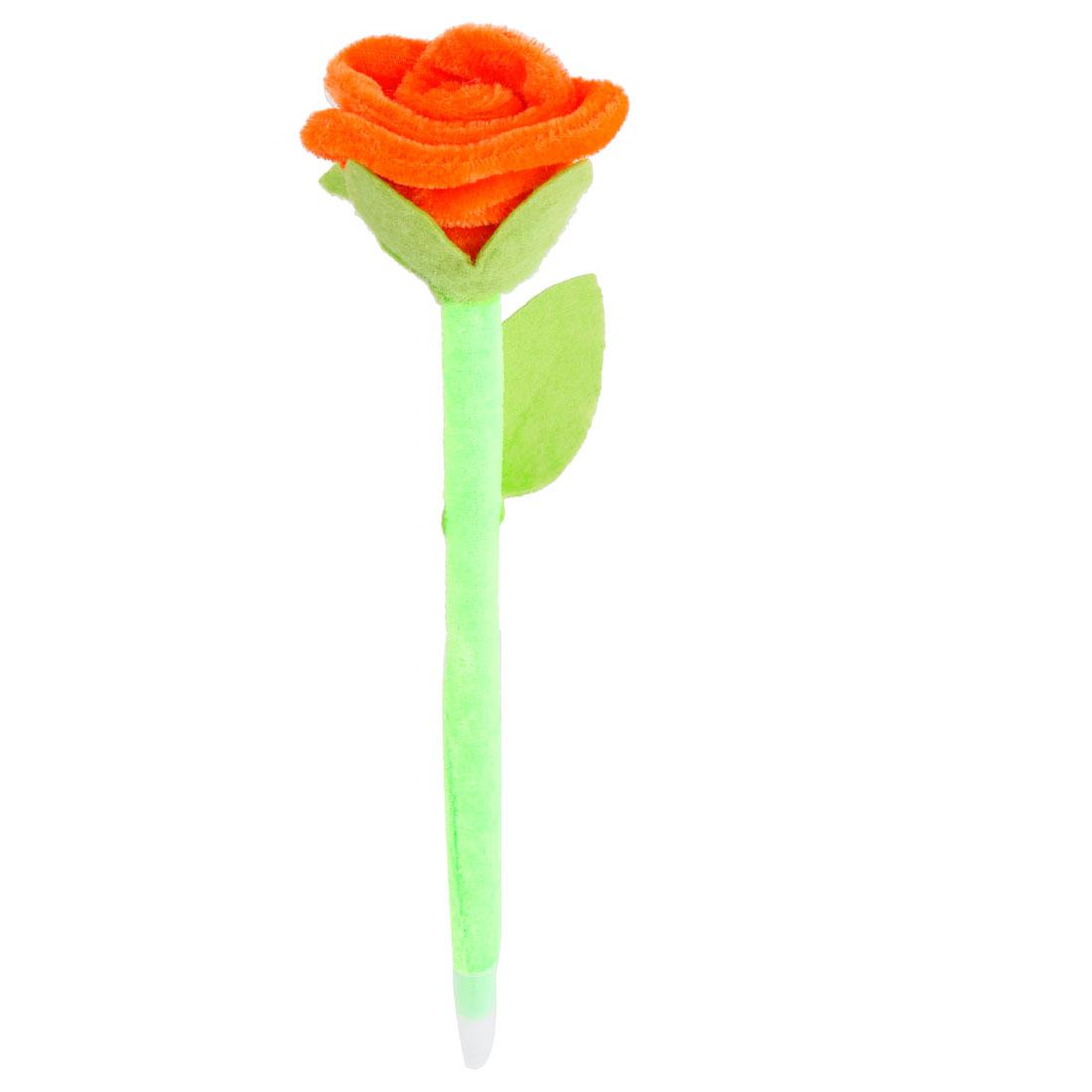 Students Prize Velvet Rose Flower Design Decor Ballpen Green Orange