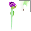 Green Purple Plastic Cap Rose Flower Shaped Ball Point Pen Ballpen