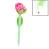 Green Pink Velvet Coated Rose Flower Shaped Ball Point Pen Ballpen