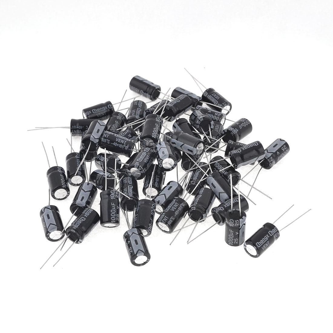 50PCS 1000uF 25V 2 Terminals Cylinder Electrolytic Capacitors