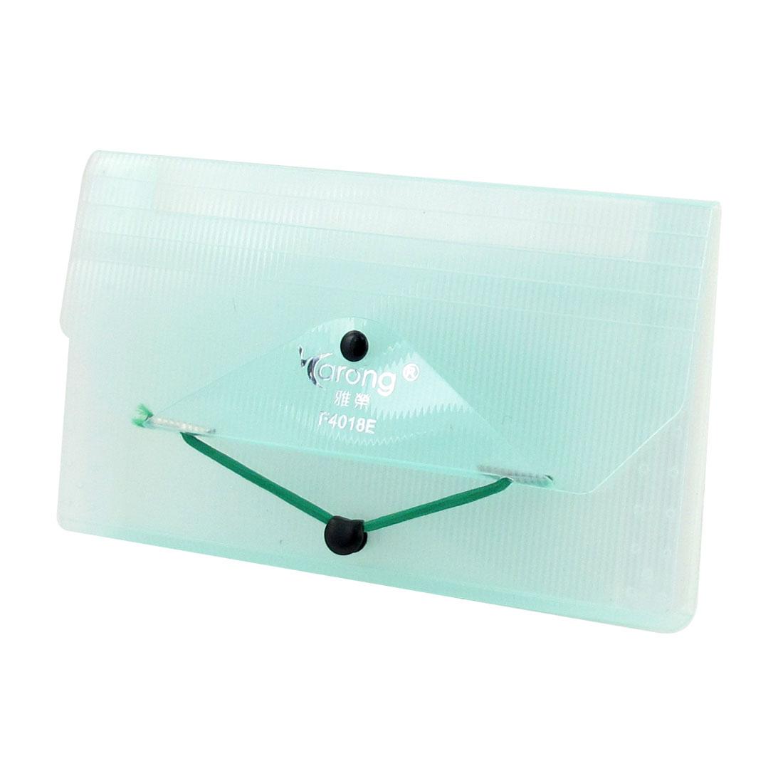 Light Green 13 Compartment Rectangle Shaped Plastic Bills File Folder