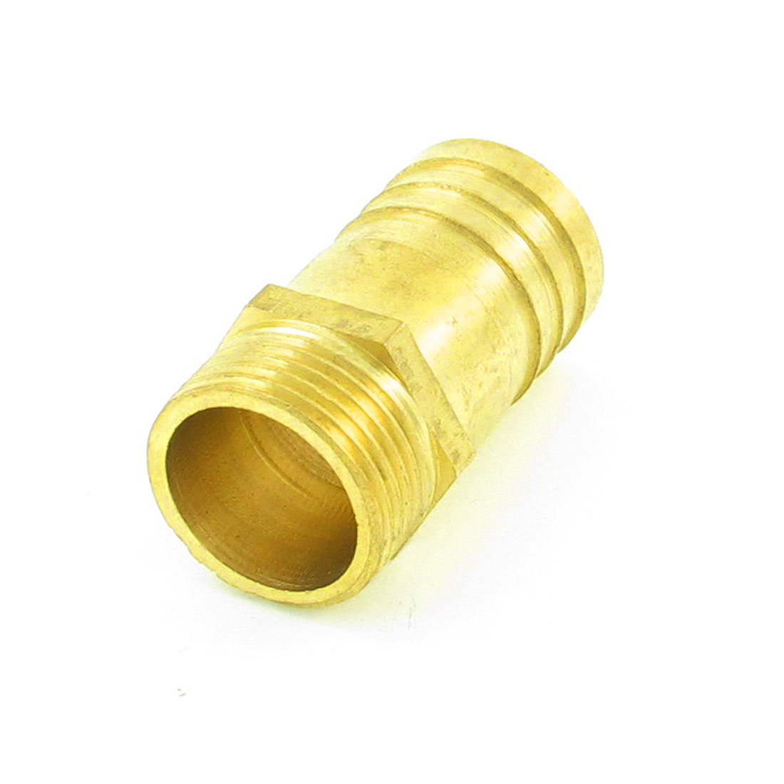 "Gold Tone 1"" PT Thread 32mm Air Gas Hose Barb Fitting Coupler Adapter"