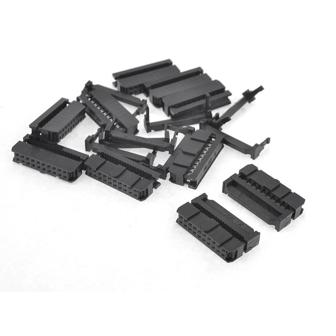 10 x Black Dual Row 20 Pin IDC Socket Connector Female Header FC-20P