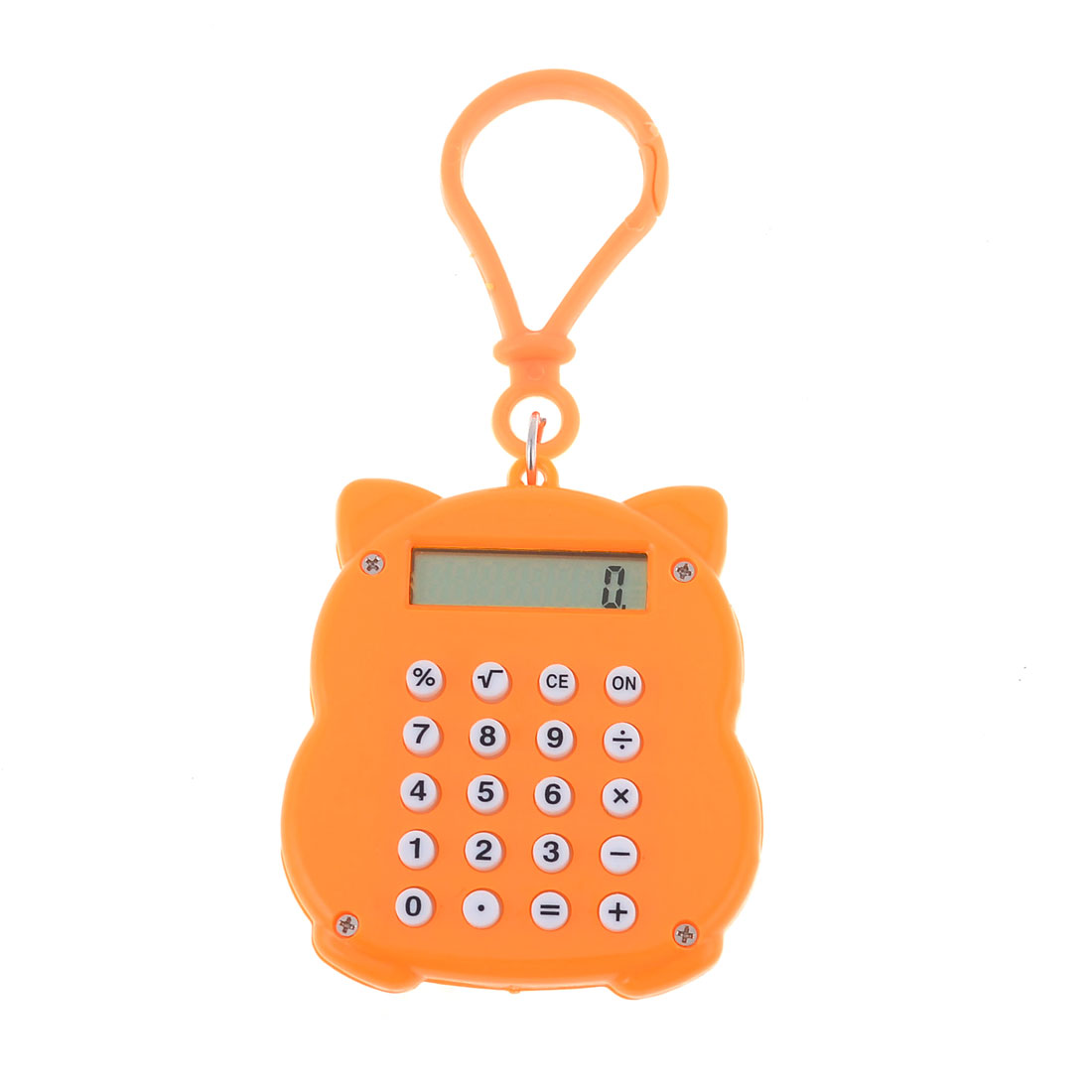 Keyring Decor Orange Plastic Shell Maneki Neko Sahpe Mini Calculator