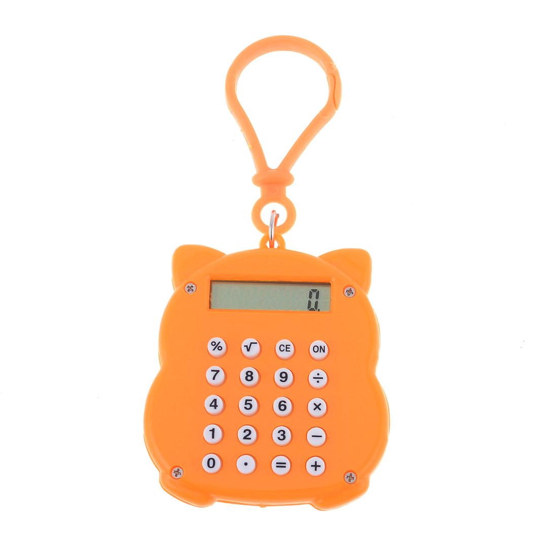 Keyring Decor Orange Plastic Shell Maneki Neko Sahpe Mini Calculator