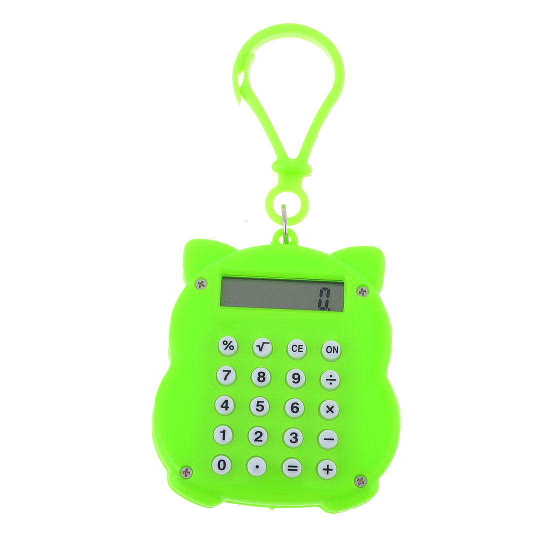 Maneki Neko Design Bright Green 8 Digits Lobster Clasp Mini Calculator