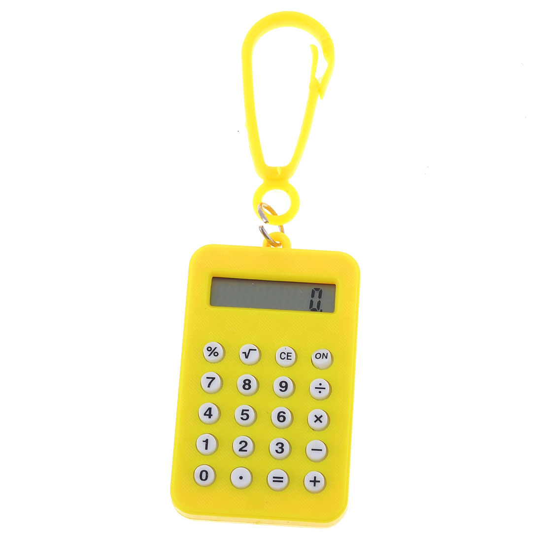 Yellow Rectangle Battery Powered Mini Pocket Calculator w Lobster Clasp