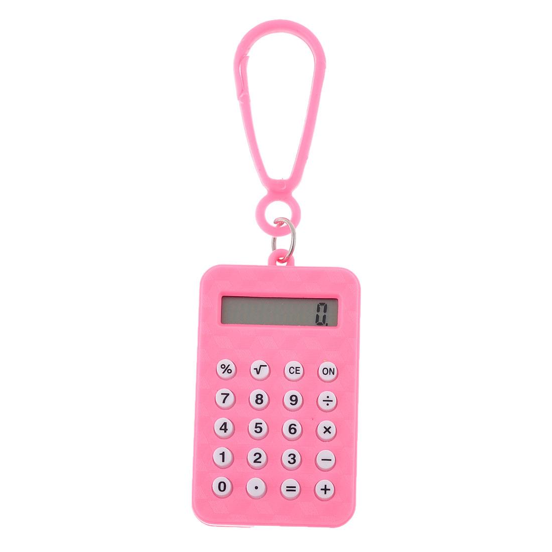 Plastic Pink Shell Rectangle Shaped Mini Electronic Calculator