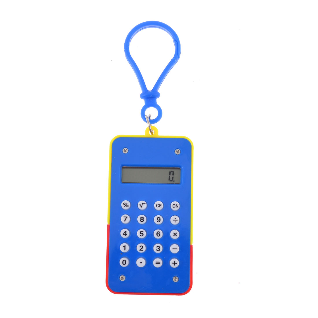 Rectangular Blue Red Digital Mini Lobster Clasp Electronic Calculator