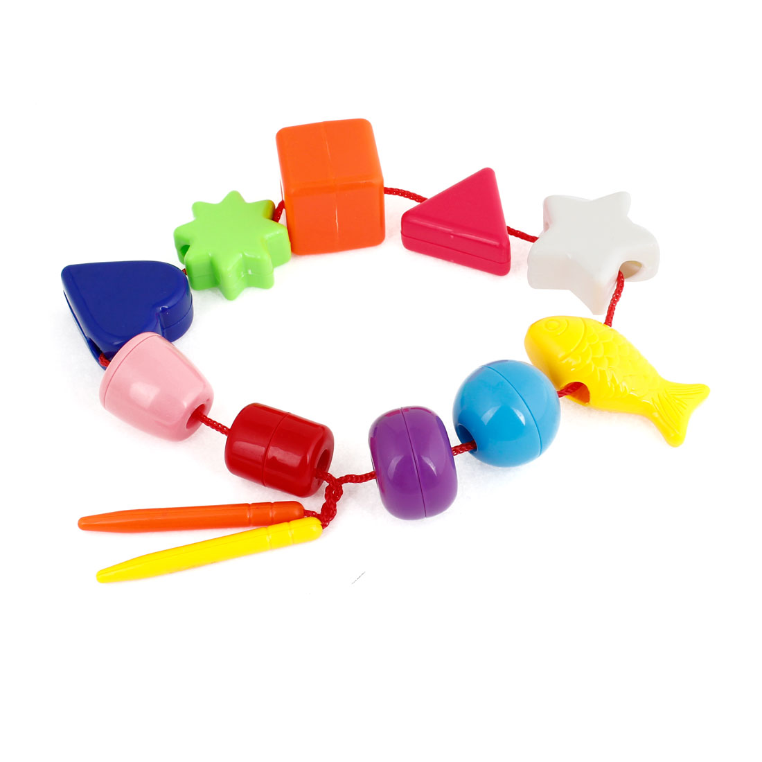 Child Learn Triangle Cylinder Square Circle Shapes Beads String Connect Toys