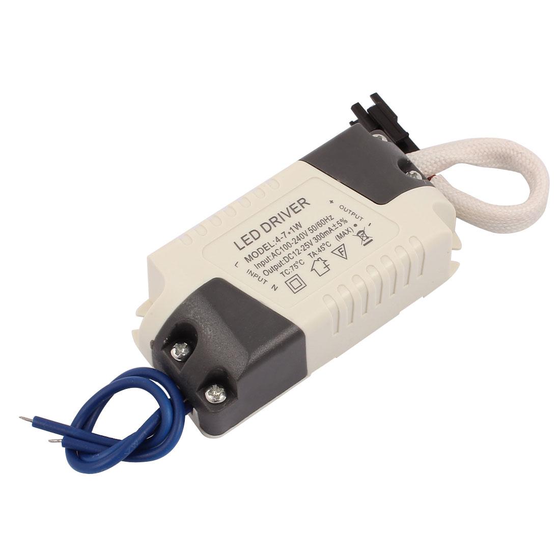 4-7x1W LED Strip Light Power Supply Driver AC 100-240V to DC 12-25V 300mA