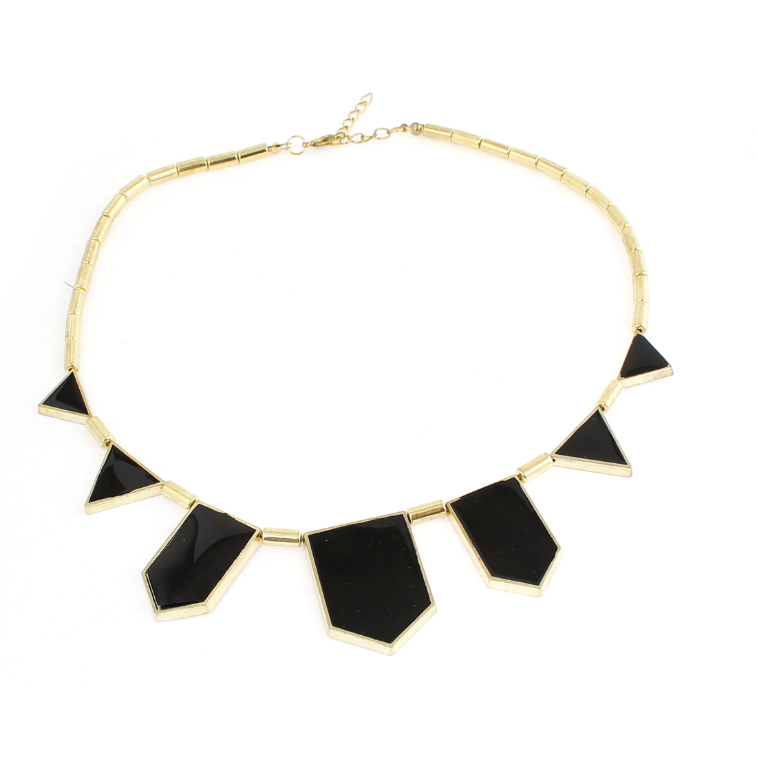 Lady Lobster Closure Gold Tone Black Triangle Decor Sweater Necklace