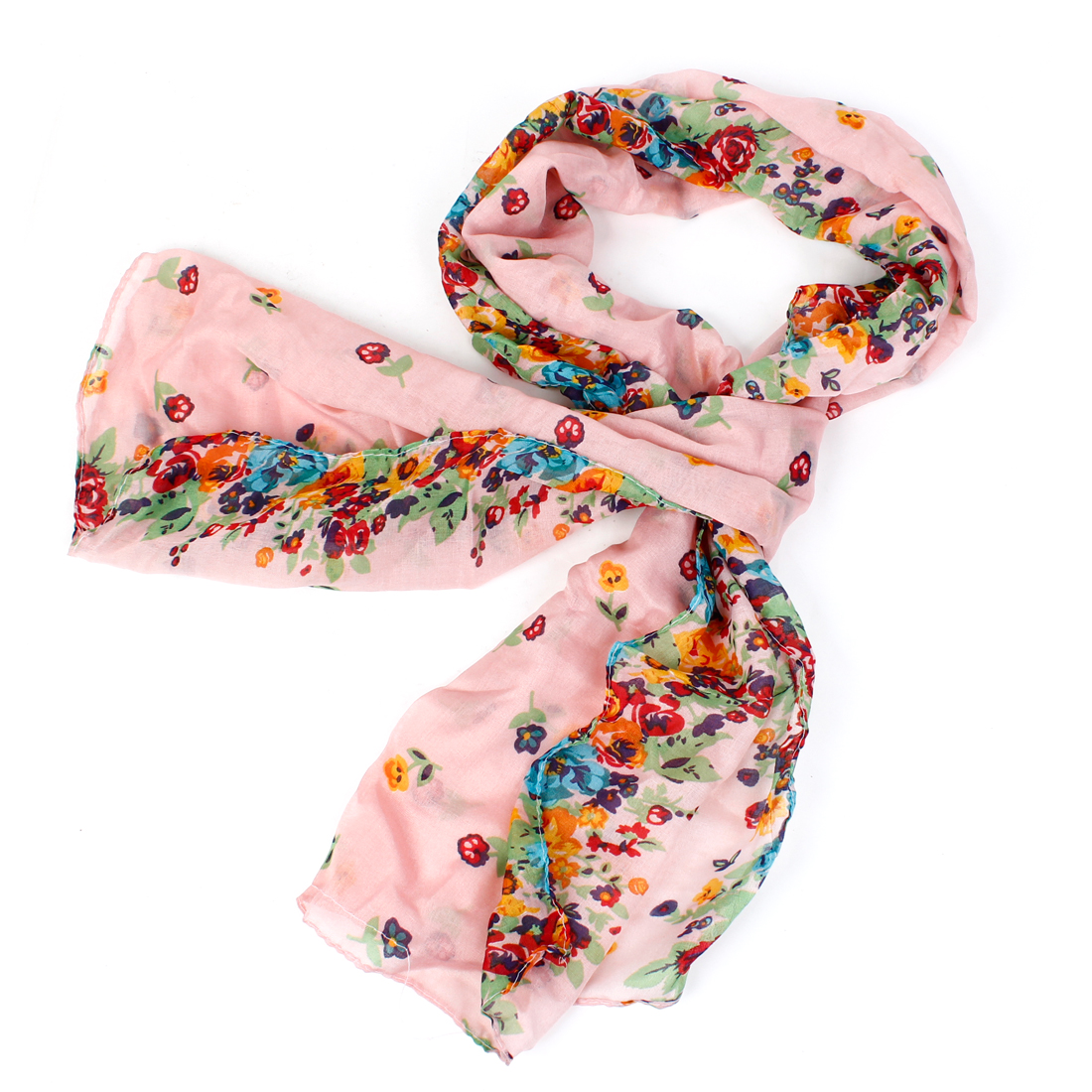 Pale Pink Soft Fabric Flower Pattern Rectangle Long Scarf Shawl for Ladies
