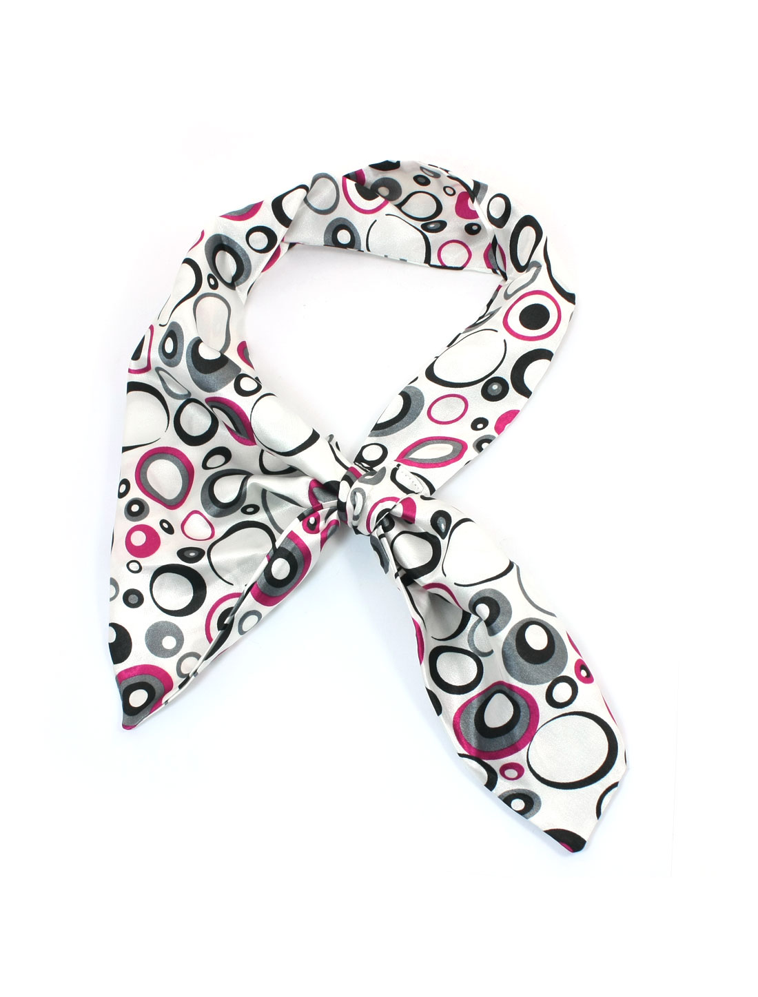 Black Fuchsia Oval Print Magic Neck Scarf Kerchief for Ladies