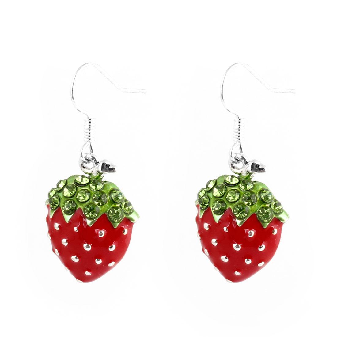 Red Green Strawberry Design Pendant Dangle Eardrop Fish Hook Earrings for Woman