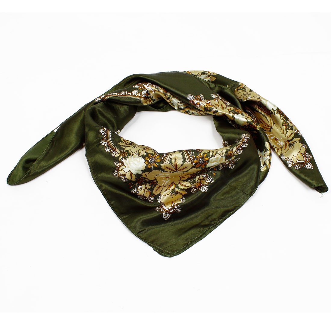 Spring Autumn Dark Green Flower Print Polyester Square Scarf Shawl for Woman