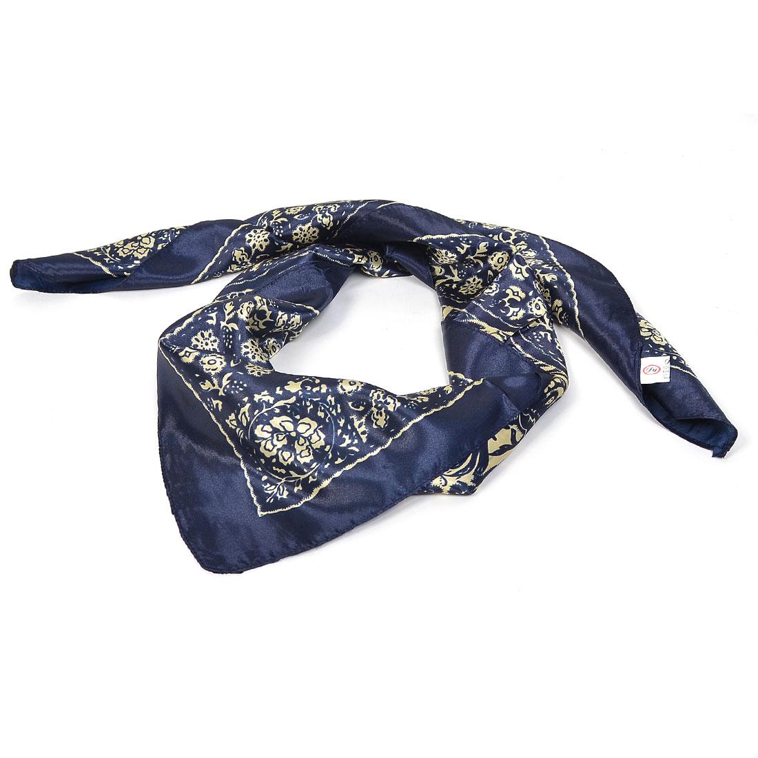 89cm x 89cm Florals Print Square Neckerchief Scarf Navy Blue Beige for Ladies