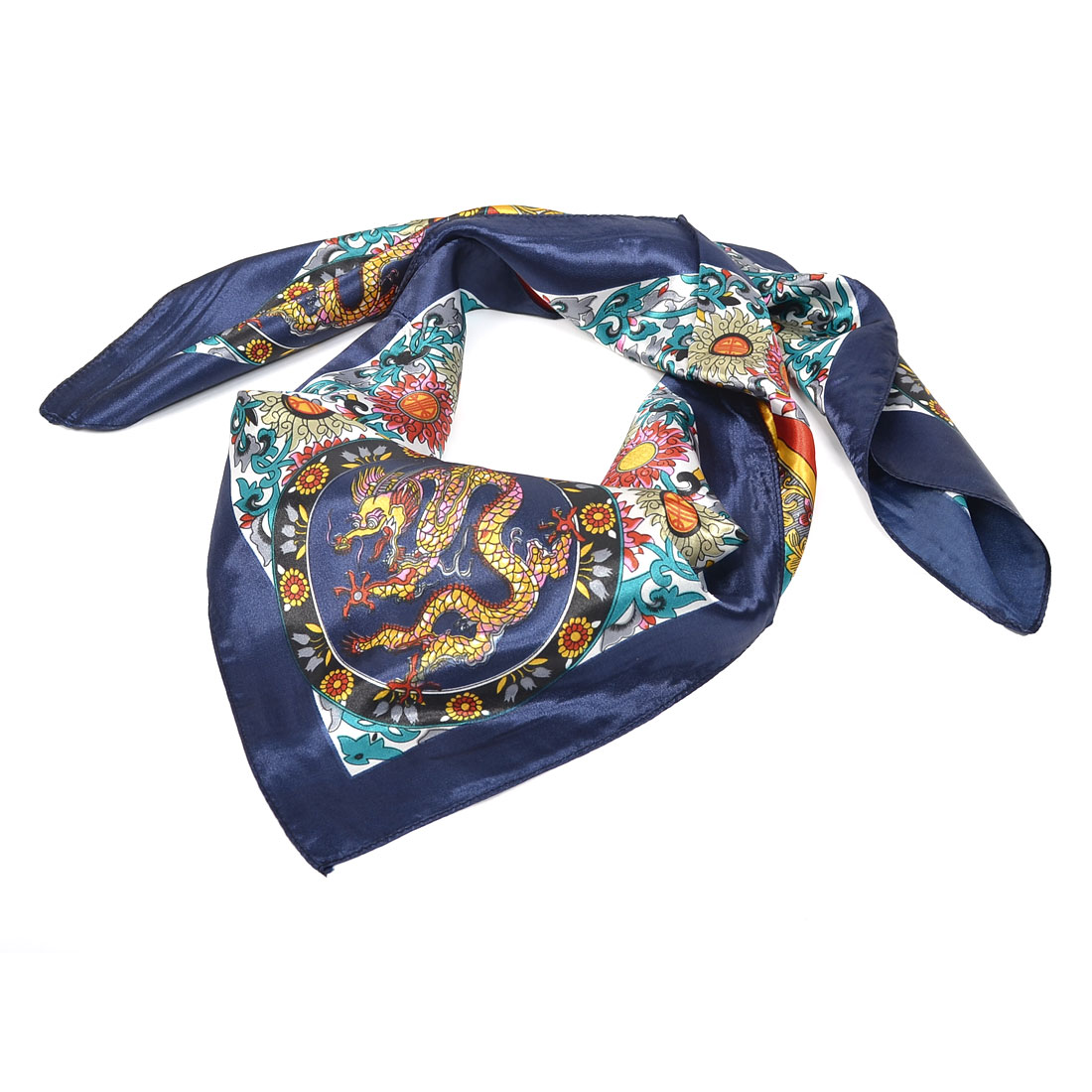 Women Dragon Pattern Square Neck Scarf Wrap Kerchief Scarves Dark Blue Yellow