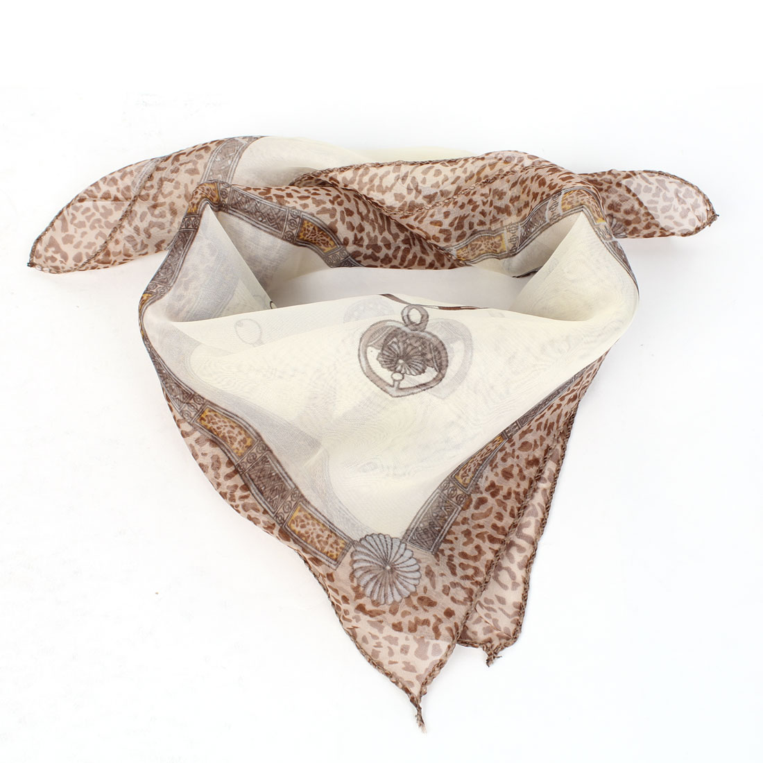 Beige Brown Leopard Ribbon Print Square Neck Scarf Neckerchief