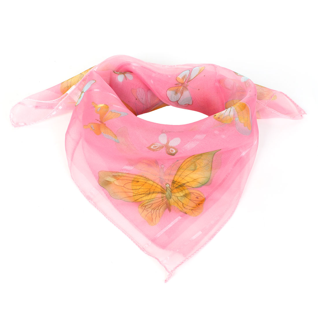 Butterfly Printed Polyester Neck Scarf Neckerchief Pink for Women