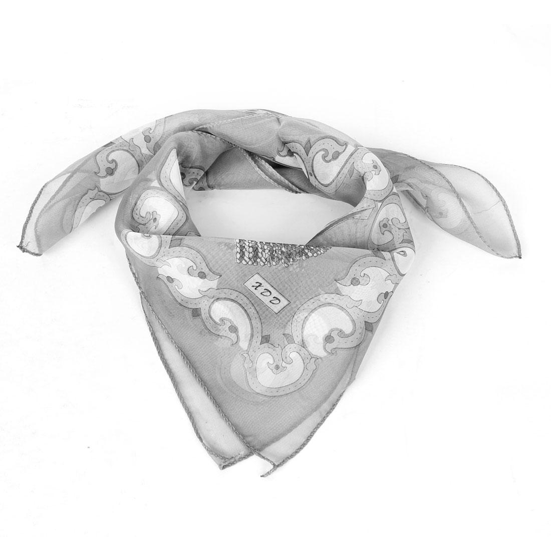 Lady Birthday Gift Chain Prints Polyester Neck Scarf Black Gray