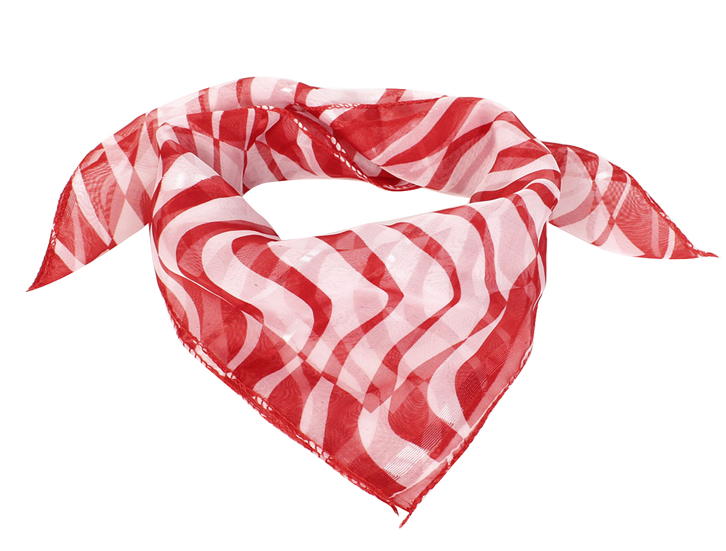 Women Christmas Gift Wave Print Square Chiffon Scarf Red White
