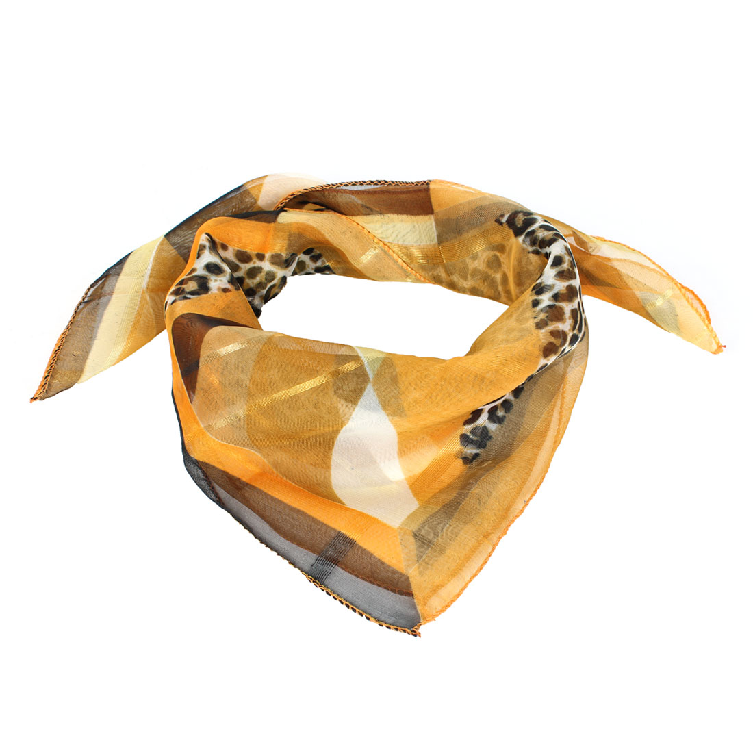 Lady Leopard Prints Semi Sheer Mini Neck Scarf Orange Black