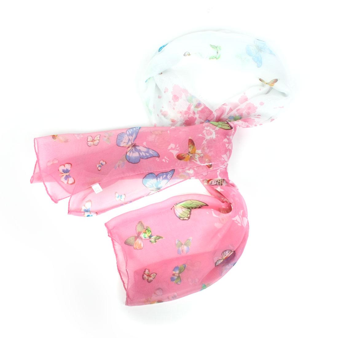 Lady Butterfly Print Green Pink Chiffon Nack Wrap Scarf Stole Pashmina