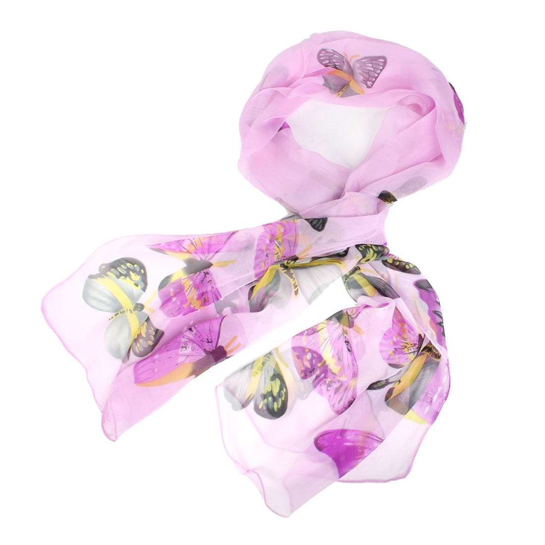 Soft Chiffon Butterfly Printed Gray Fuchsia Neck Scarf Shawl for Women