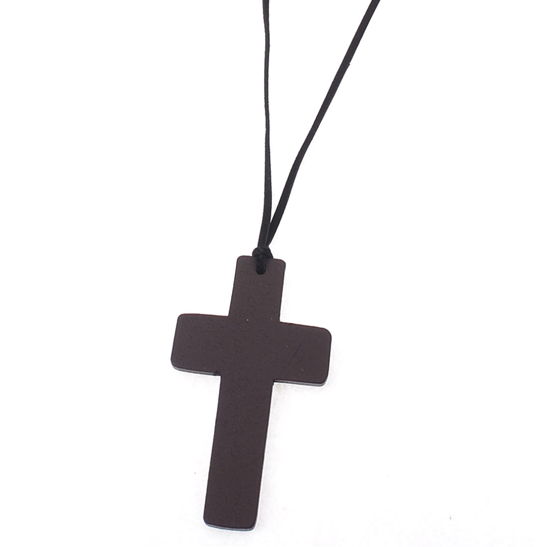 Women Dark Brown Wood Cross Pendant Manual Kontting Necklace Chain