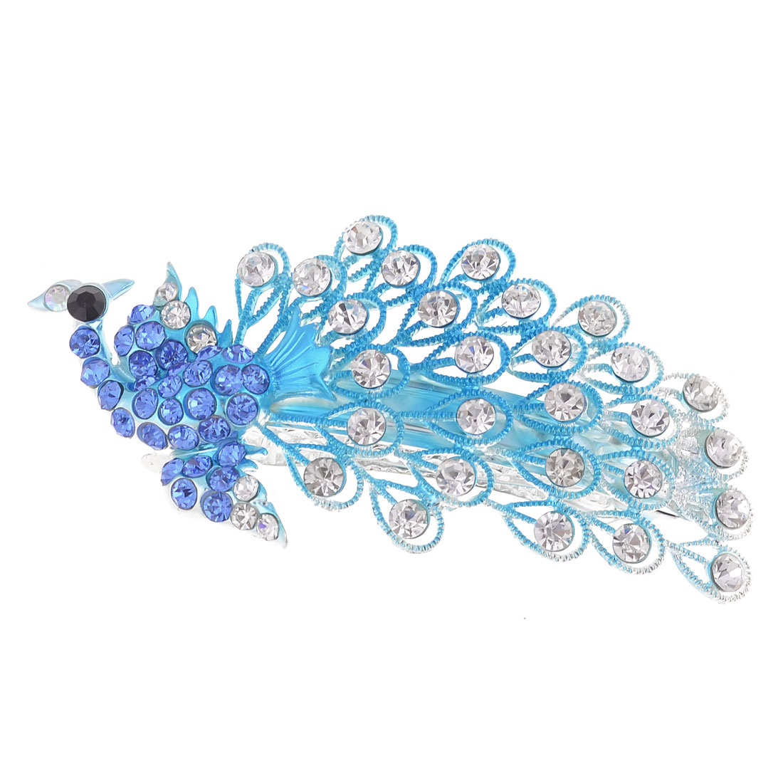 Ladies Teal Blue Peacock Shaped Rhinestone Decor Inlaid French Hair Clip