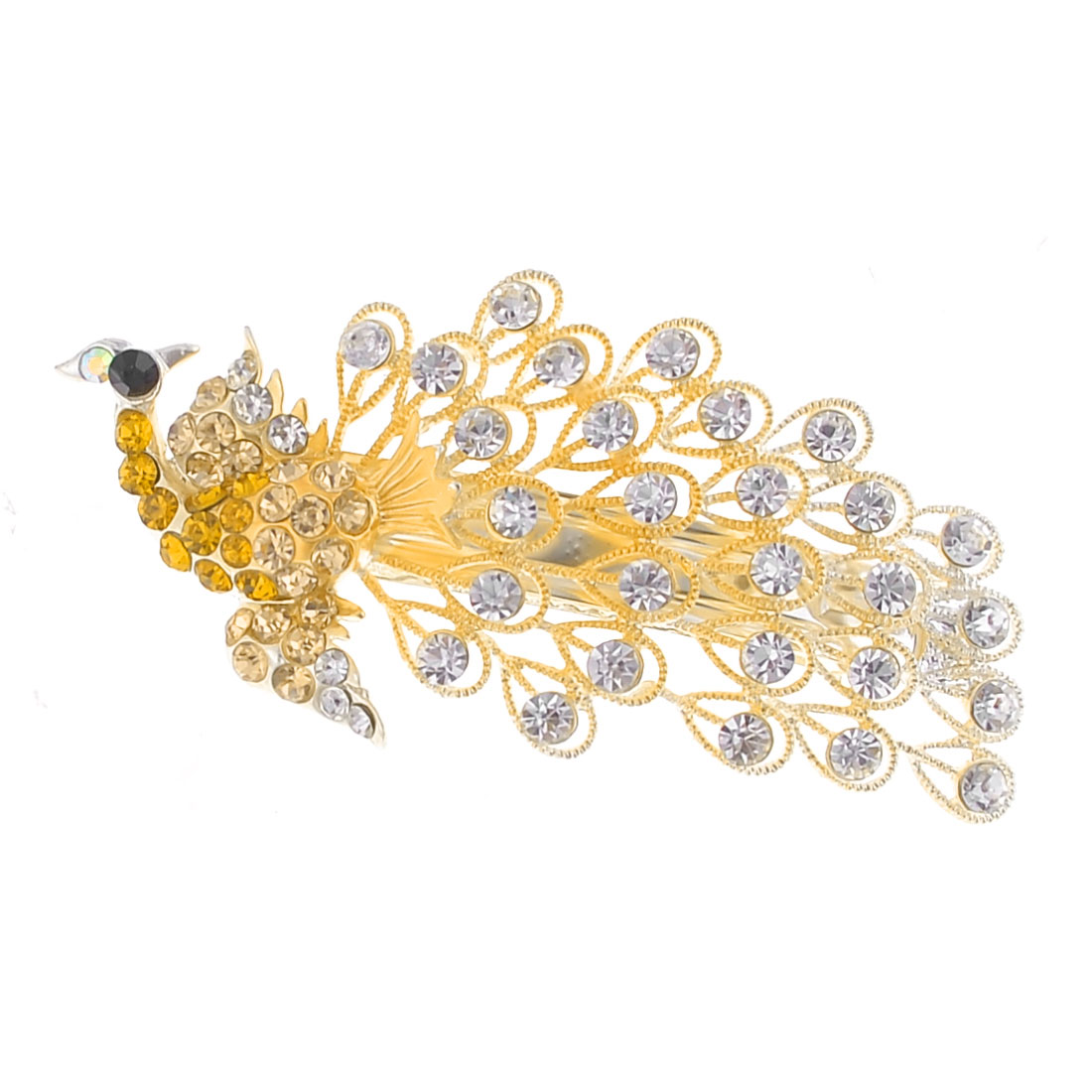 Faux Crystal Accent Champagne Faceted Crystal Decor Peacock Hair Barrette