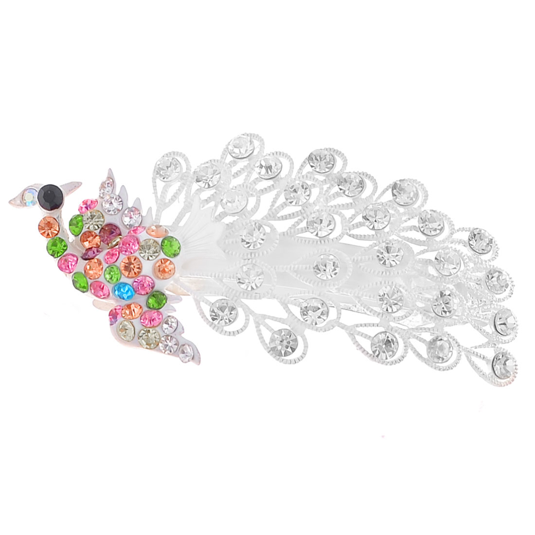 Lady White Faux Crystal Inlaid Peacock Decor French Hair Clip