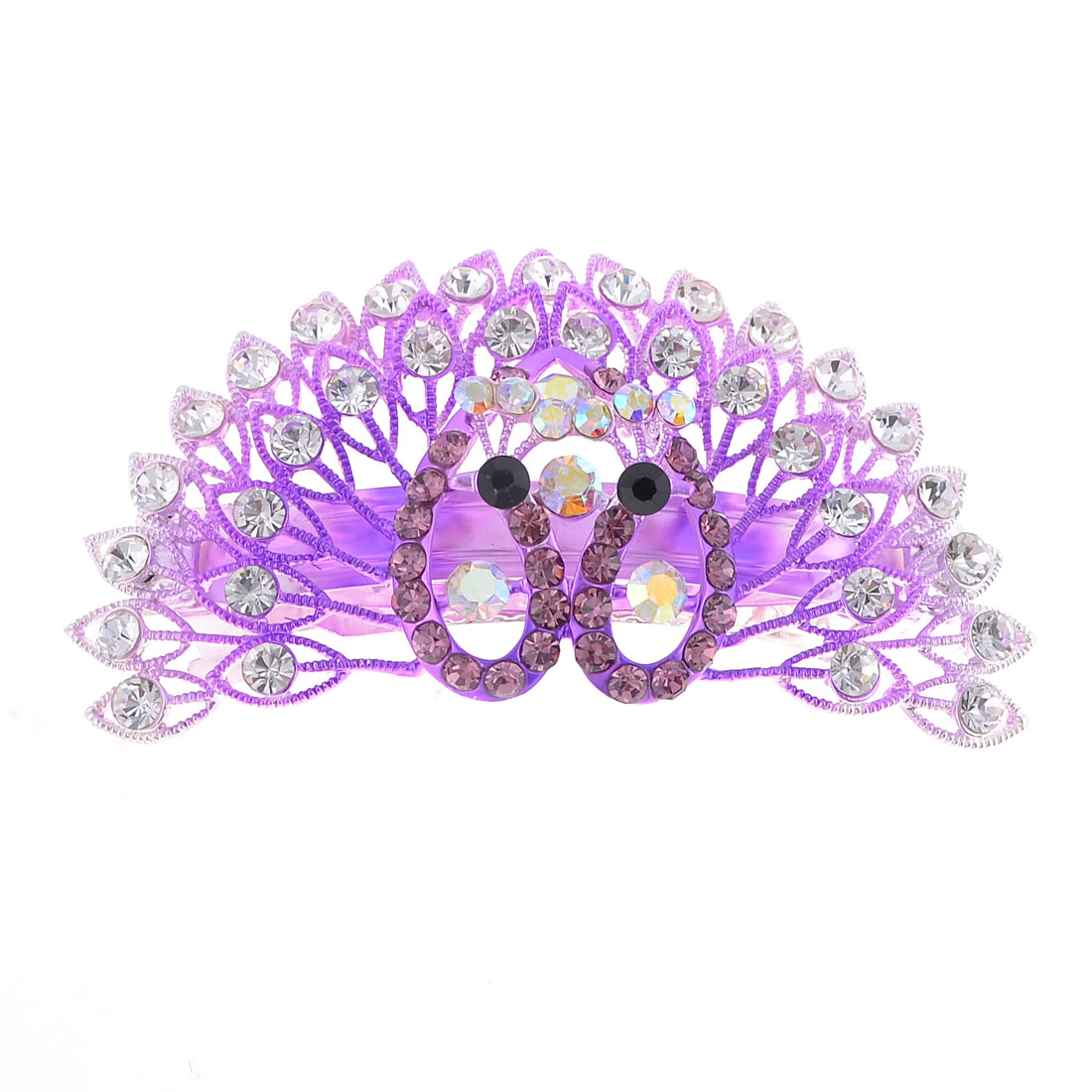 Purple Clear Rhinestone Decor Metal Peacock Shaped Hair Clip For Woman