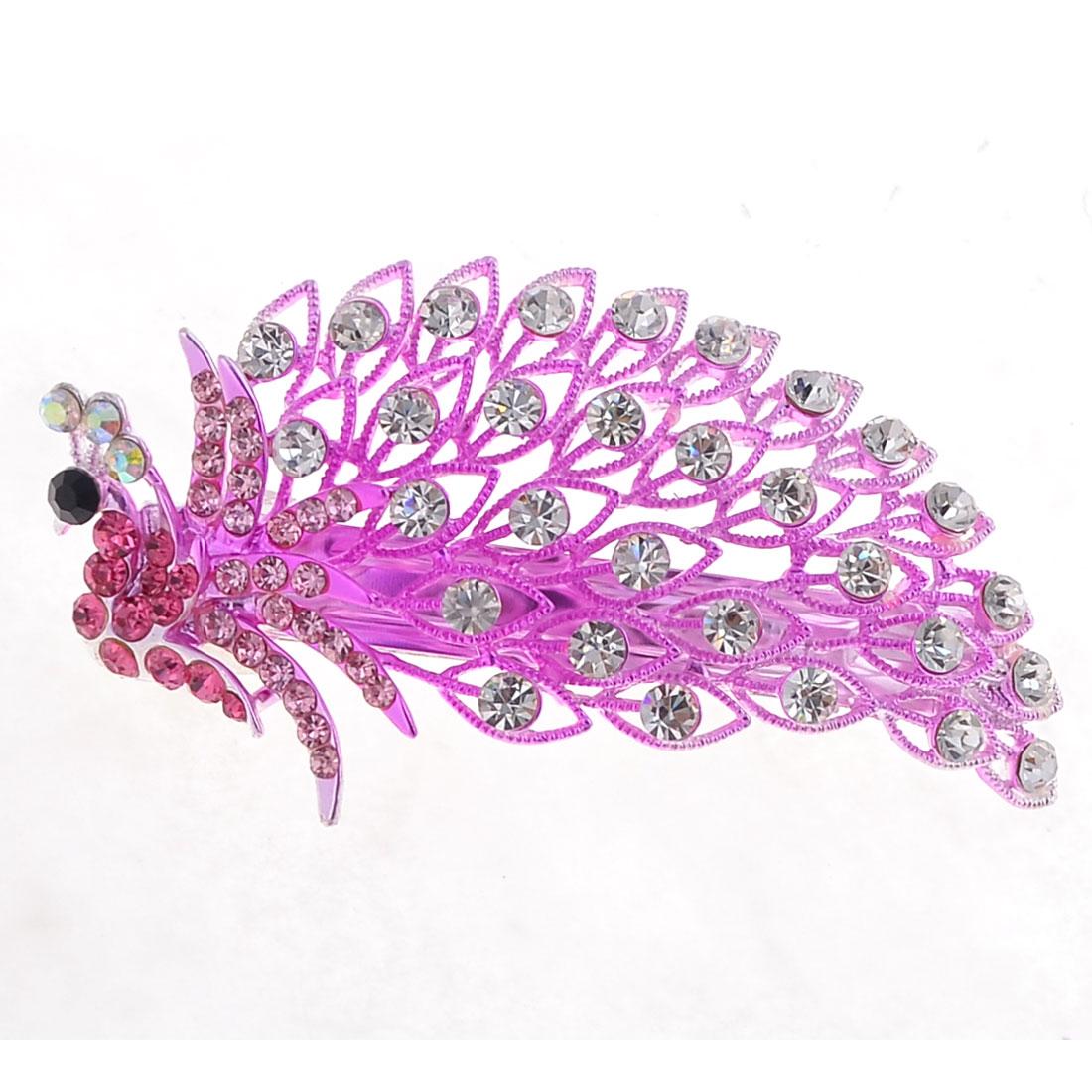 Girl Metal Peacock Style Banquet Glittery Rhinestone Barrette Hair Clip Fushcia
