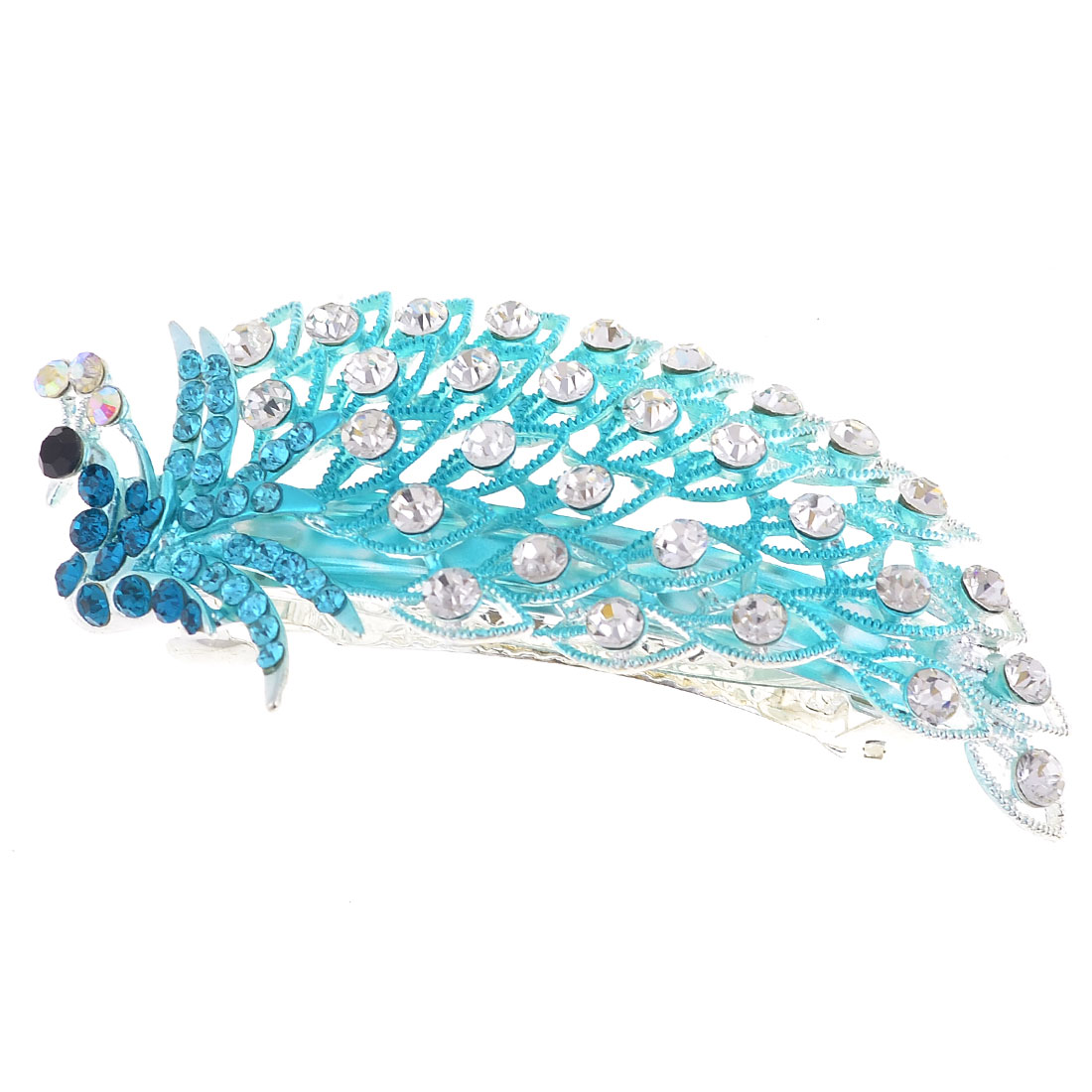 Teal Blue Shinny Rhinestone Inlaying Peacock Shaped Metal French Clip
