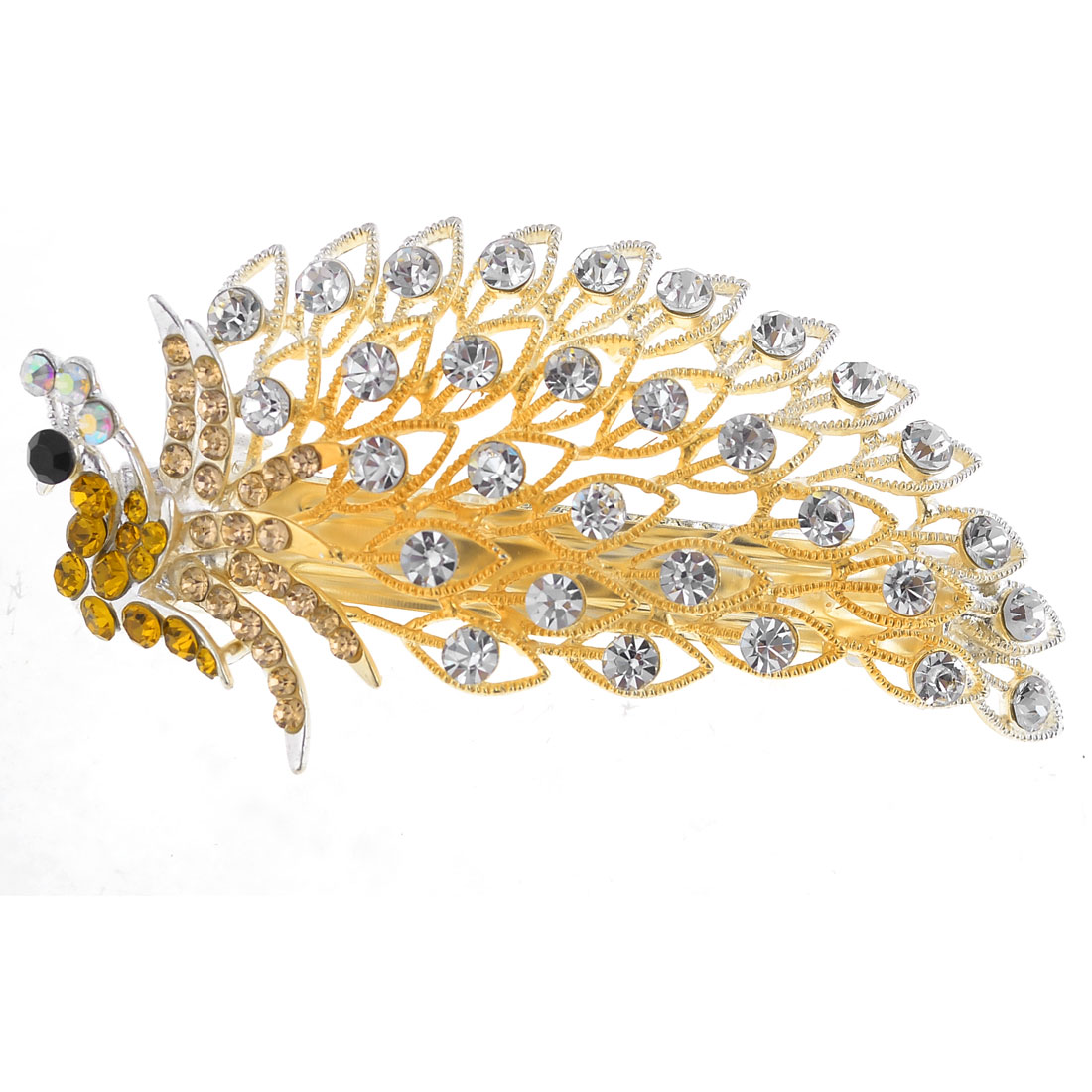 Gold Tone Green Peacock Style Rhinestone Inlaying Hair Barrette Hair Clip