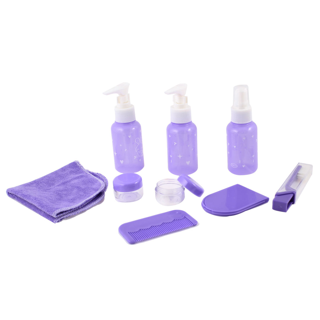 Purple Traveling Spray Mist Bottle Cream Box Comb Towel Toothbrush 9 in 1
