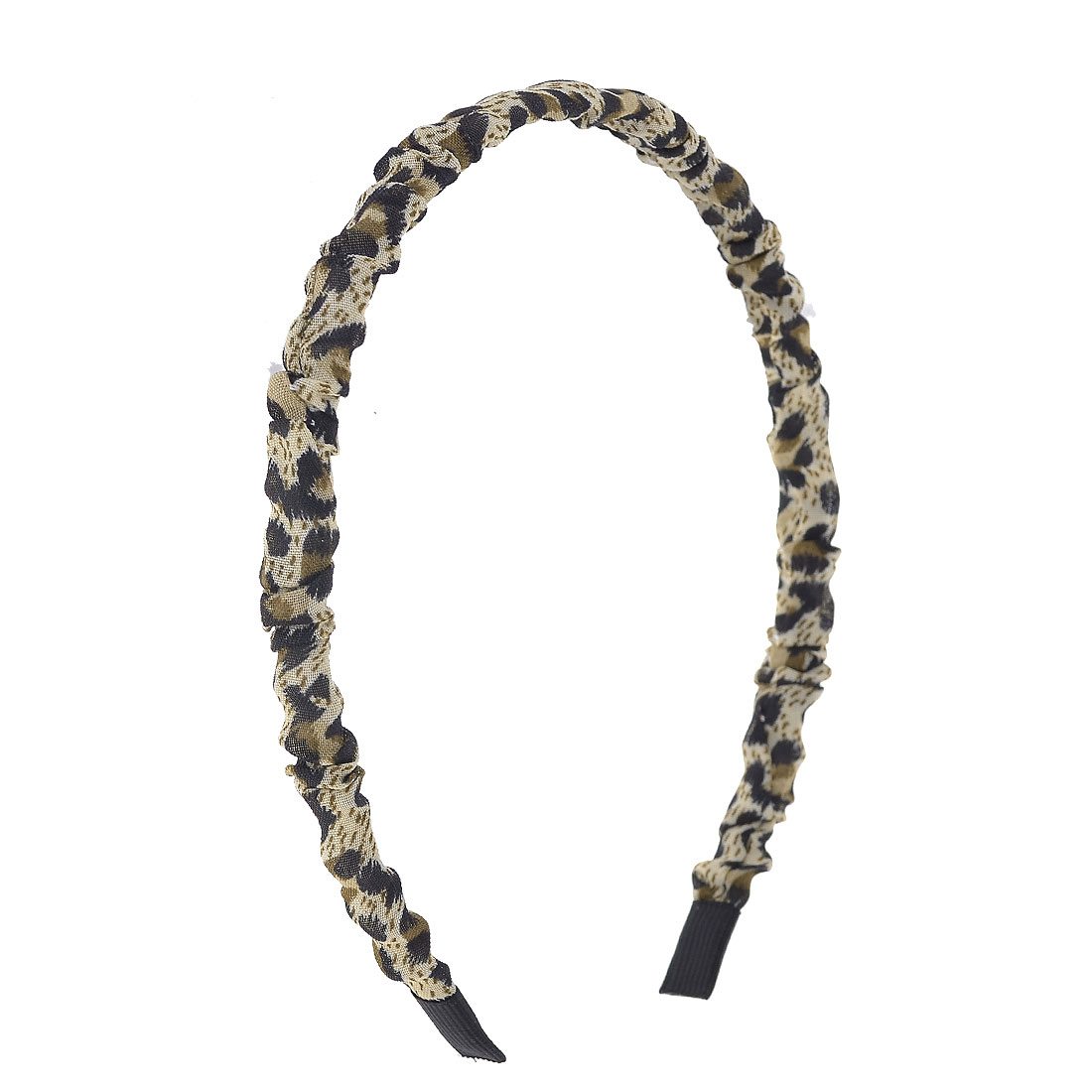 Leopard Prints Nylon Cover Headband Hair Hoop Beige Black for Woman