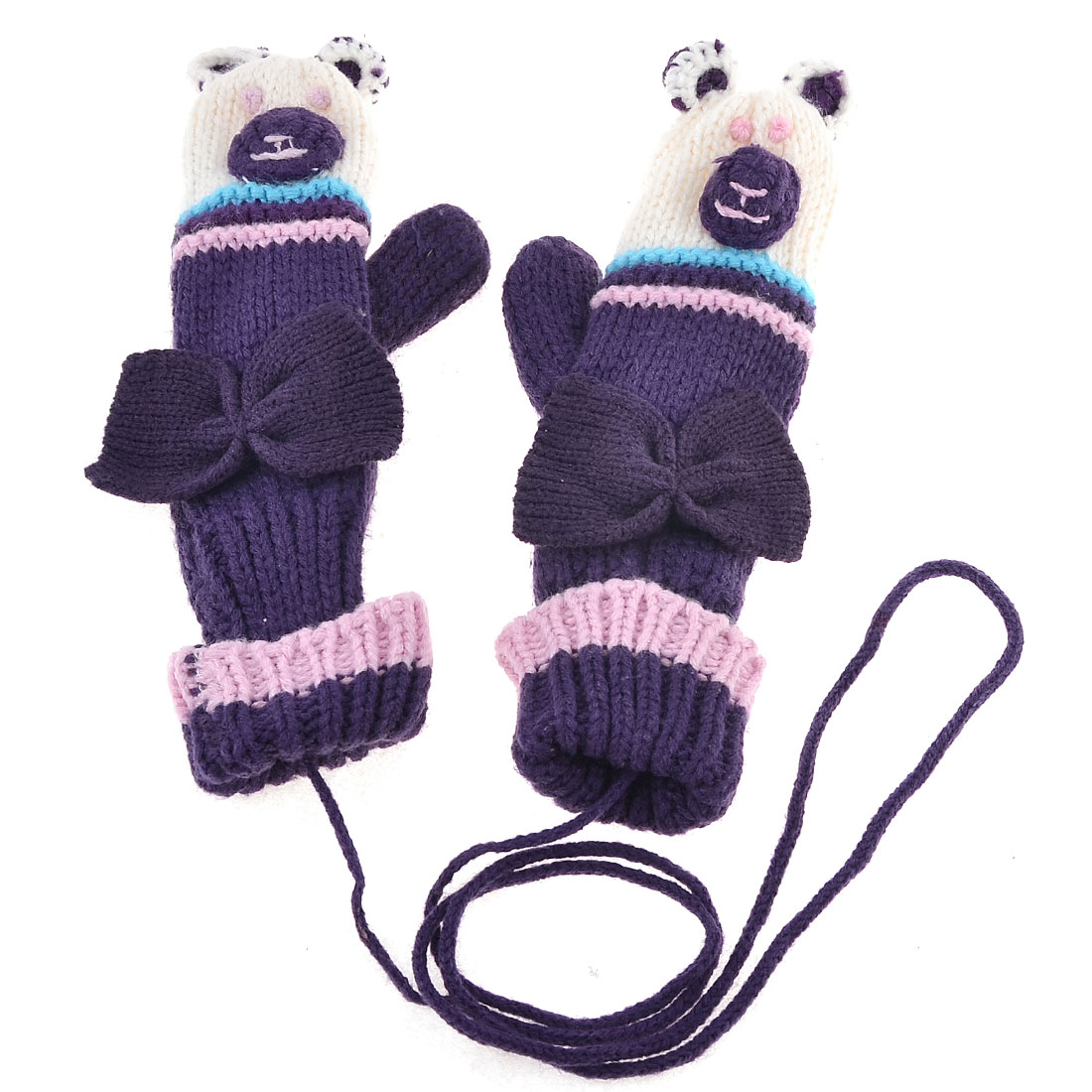 Lady Bowknot Detail Knitted Warm Hang Neck Mitten Gloves Purple Pair