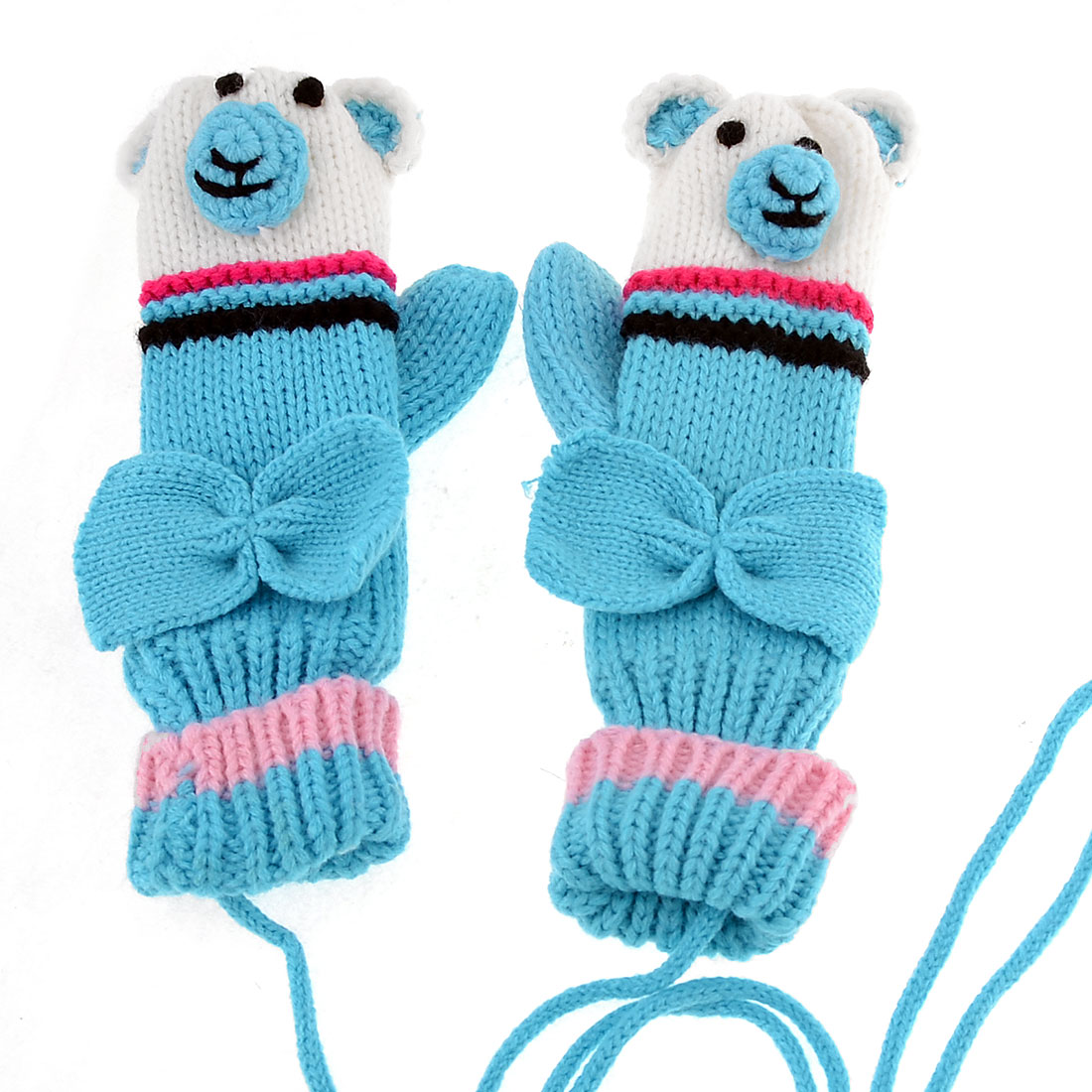 Lady Cartoon Design Bowknot Detail Knitted Hang Neck Mitten Gloves Blue Pair