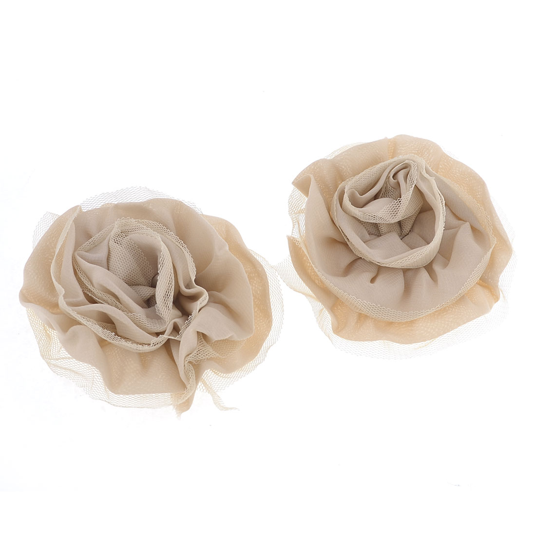 Lady DIY Handbag Shoes Lace Detail Chiffon Decor Flower Khaki 2 PCS