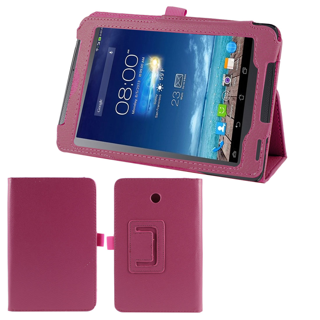 Stand Magnetic Flip Protective Case Cover Fuchsia for ASUS FonePad 7 ME372CG