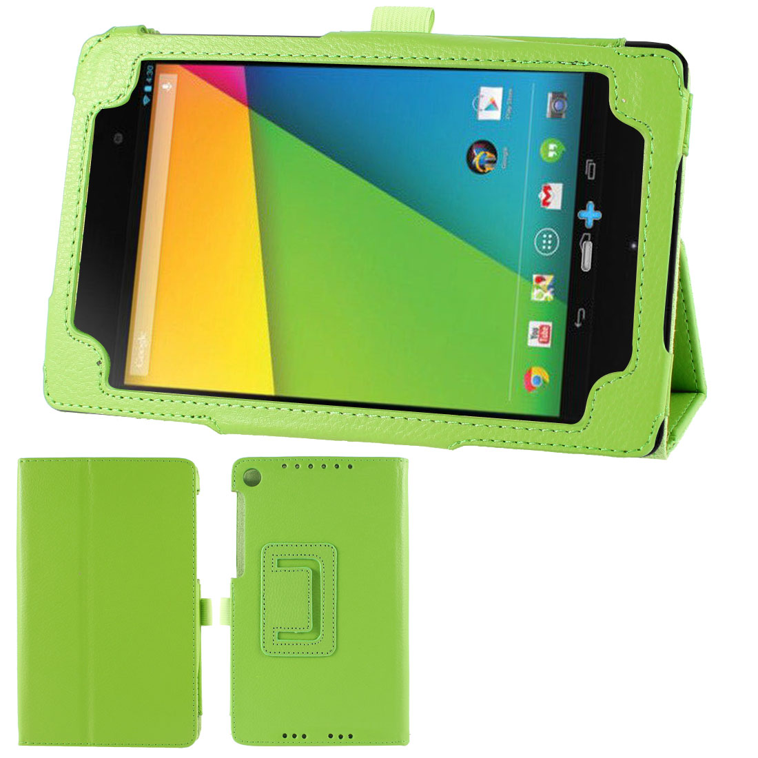 Green Stand Folio Cover Case for Google Nexus 7 2nd Gen 2013 Android Tablet