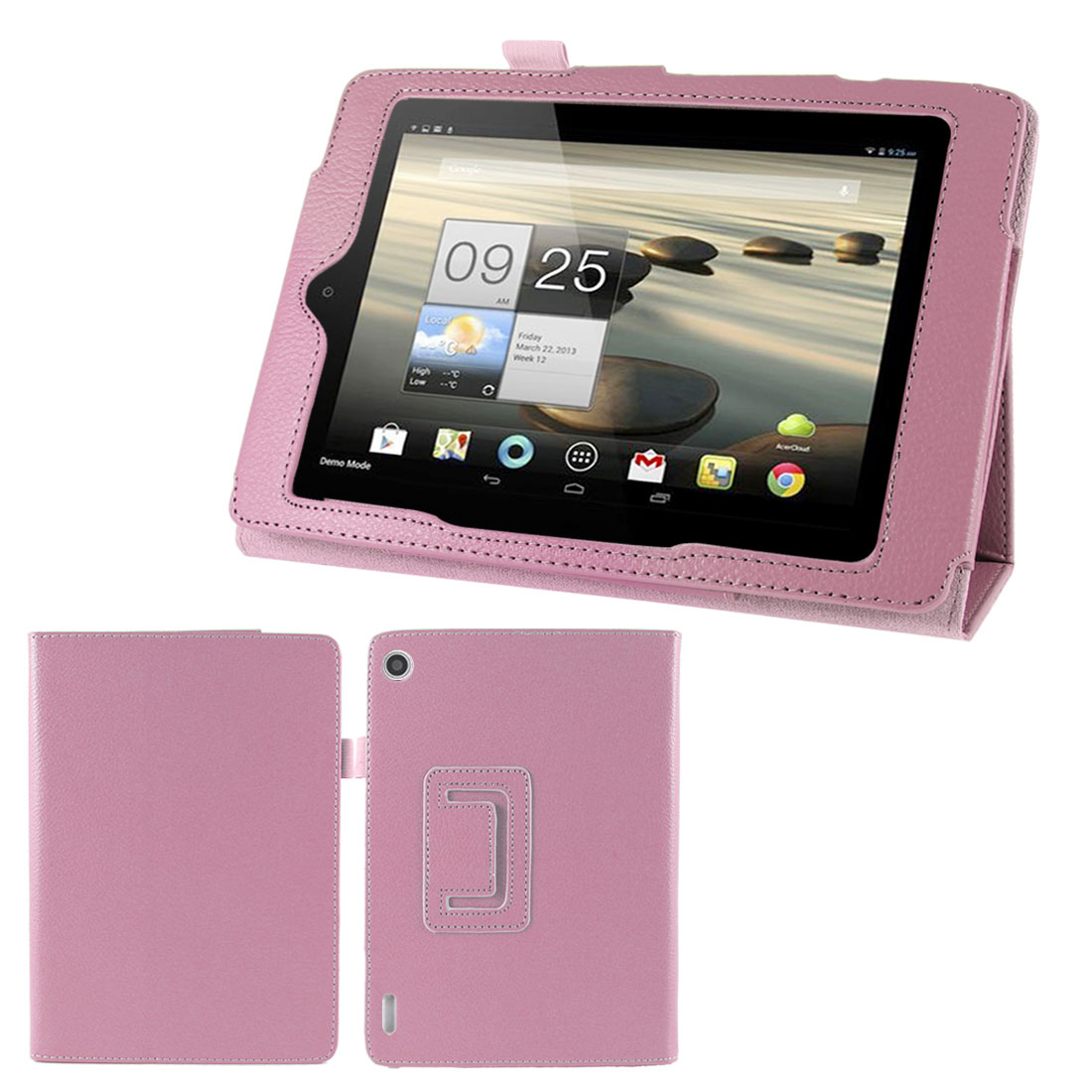 Pink Folio Faux Leather Stand Case Cover for Acer Iconia Tab A1-810 7.9""